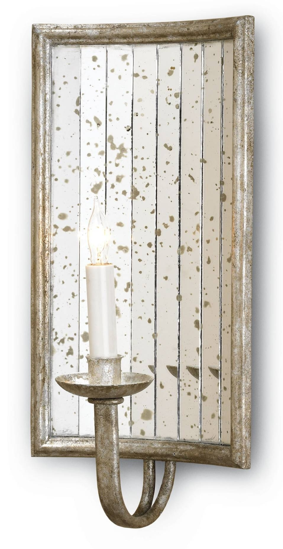 Currey u0026 Company 5405 Twilight Wall Sconce In Harlow Silver Leaf/Antique Mirror  sc 1 st  Foundry Lighting : antique mirror sconce - www.canuckmediamonitor.org