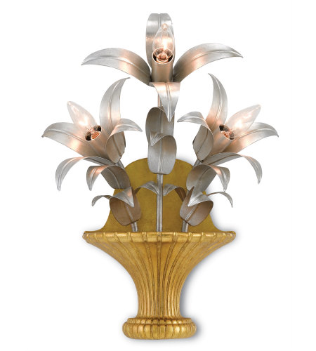 Currey & Company 5000-0094 Carmen Wall Sconce in Contemporary Gold Leaf/Contemporary Silver Leaf