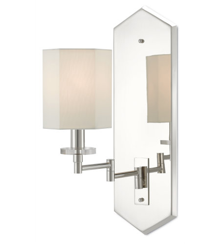 Currey & Company 5000-0114 Hopper Swing-Arm Wall Sconce in Polished Nickel/Clear