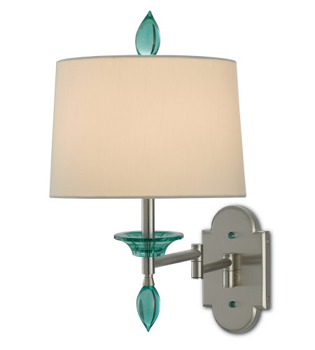 Currey & Company 5000-0115 Blodgett Swing-Arm Wall Sconce in Brushed Nickel/Light Teal