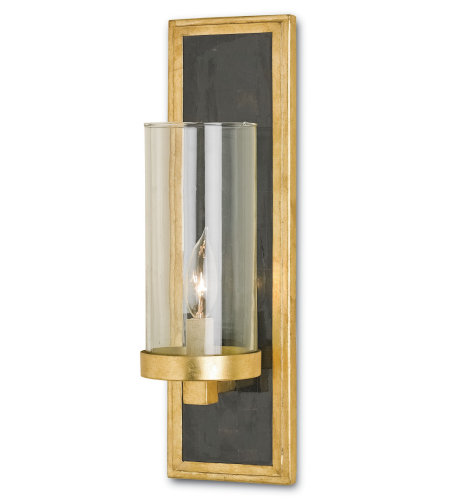 Currey And Company 5140 1 Light Charade Wall Sconce, Black In Contemporary Gold Leaf/Black Penshell Crackle