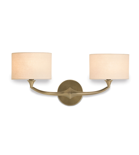 Currey And Company 5171 2 Light Bellario Wall Sconce In Antique Brass