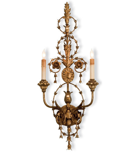 Currey & Company 5309 Lillian August Belmonte Wall Sconce in Gold Leaf