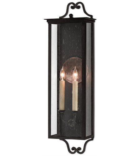 Currey & Company 5500-0008 Giatti Outdoor Wall Sconce, Medium in Midnight