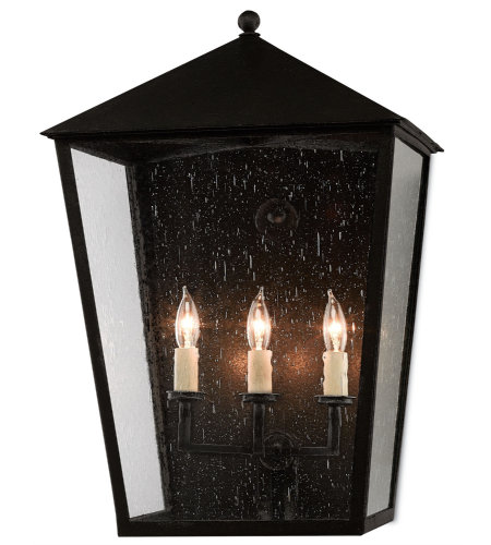 Currey And Company 5500-0010 Bening Outdoor Wall Sconce In Midnight (Pure Black)