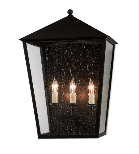 Currey & Company 5500-0010 Bening Large Outdoor Wall Sconce in Midnight