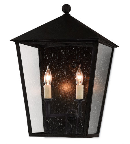 Currey And Company 5500-0011 Bening Outdoor Wall Sconce In Midnight (Pure Black)