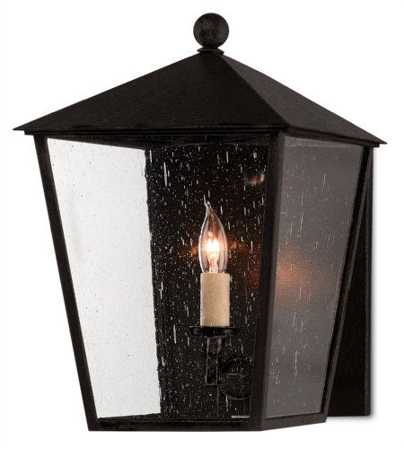 Currey And Company 5500-0012 Bening Outdoor Wall Sconce In Midnight (Pure Black)