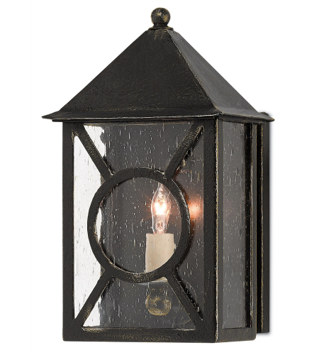 Currey And Company 5500-0016 Ripley Outdoor Wall Sconce In Moonlight (Black With Gold)