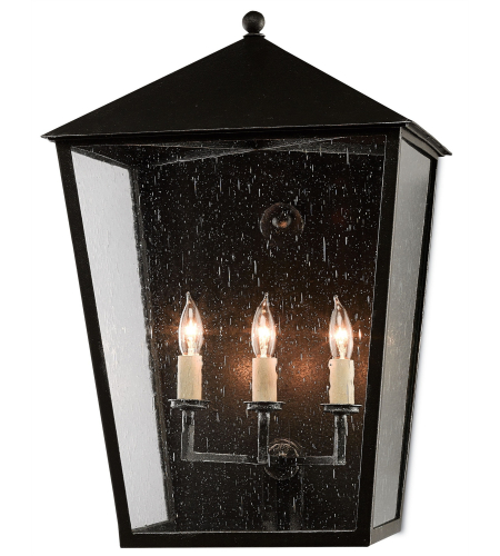 Currey And Company 5500-0034 Bening Outdoor Wall Sconce In Starlight (Black With Silver)