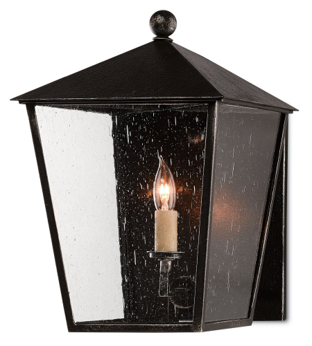 Currey And Company 5500-0036 Bening Outdoor Wall Sconce In Starlight (Black With Silver)