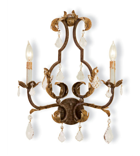 Currey & Company 5828 Tuscan Wall Sconce In Venetian/Gold Leaf/Swarovski Crystal