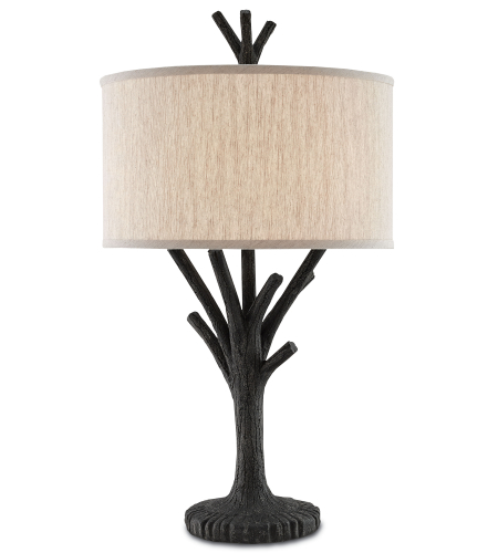 Currey And Company 6000-0070 1 Light Arboria Table Lamp In Black