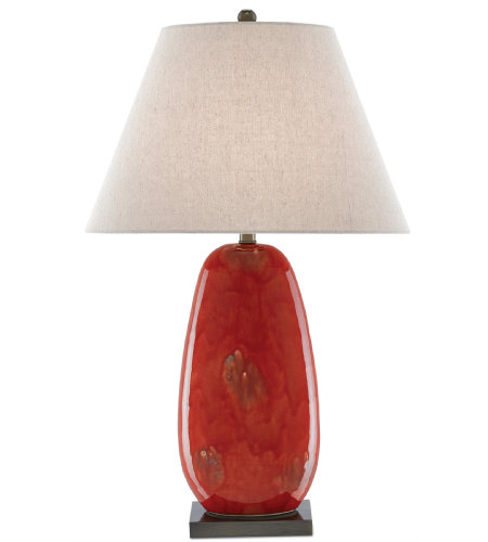 Currey & Company 6000-0097 Carnelia Table Lamp in Rustic Red/Antique Brass