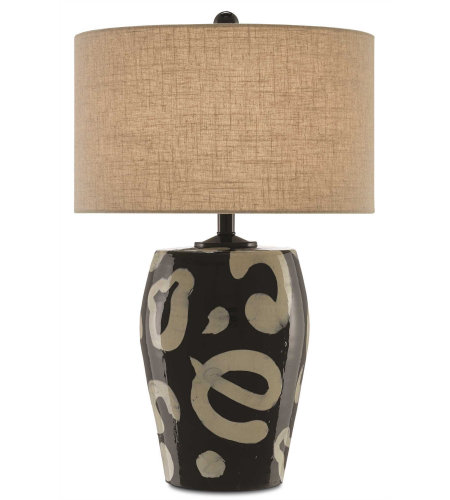 Currey & Company 6000-0264 Ginza Table Lamp, Small in Black/Tan