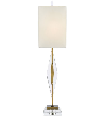 Currey & Company 6000-0361 Amita Table Lamp in Clear/Antique Brass