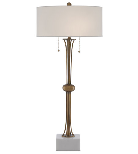Currey & Company 6000-0447 Abacus Table Lamp in Antique Brass/White