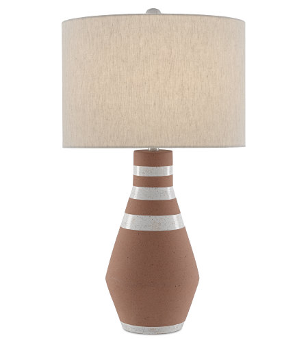 Currey & Company 6000-0489 Remont Table Lamp in Speckled Terracotta/Speckled White/Silver Leaf