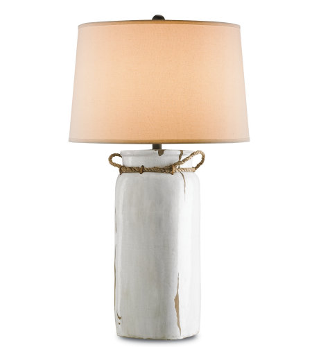 Currey & Company 6022 Sailaway Table Lamp in White Distress Crackle/Natural Rope/Emery Rust