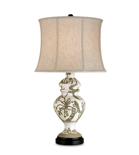 Currey And Company 6049 1 Light Giardino Table Lamp In Tawny White