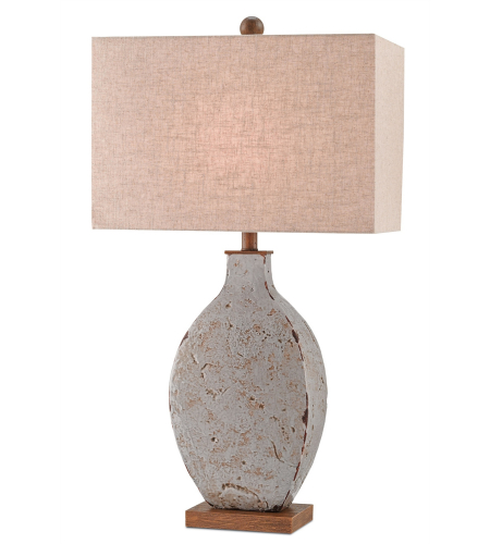 Currey And Company 6236 Bushcamp Table Lamp In Rustic Gray/Brushed Wood