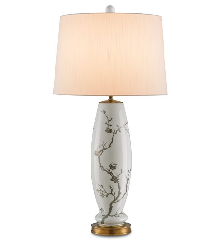 Currey And Company 6306 Primrose Table Lamp In White With Silver Floral/Antique Brass