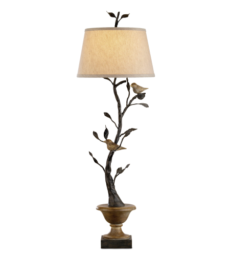 Currey And Company 6353 1 Light Mulberry Table Lamp In Old Bronze/Rustic Wood