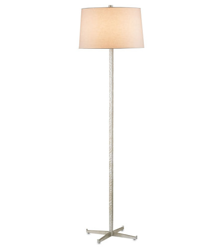 Currey And Company 8066 Echelon Floor Lamp In Contemporary Silver Leaf