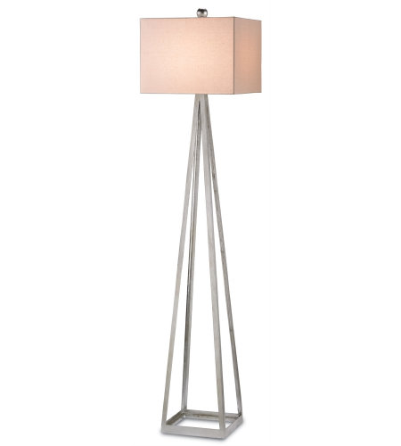 Currey And Company 8069 1 Light Bel Mondo Floor Lamp In Contemporary Silver Leaf