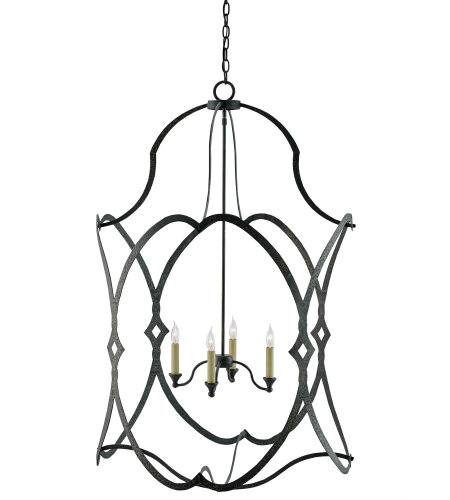 Currey And Company 9000-0025 4 Light Charisma Lantern, Large In French Black