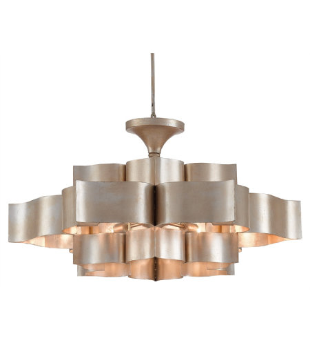 Currey And Company 9000-0051 Grand Lotus Chandelier In Contemporary Silver Leaf