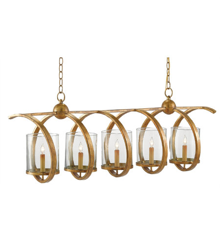 Currey And Company 9000-0054 5 Light Maximus Rectangular Chandelier, Washed Gold Leaf In Washed Gold Leaf