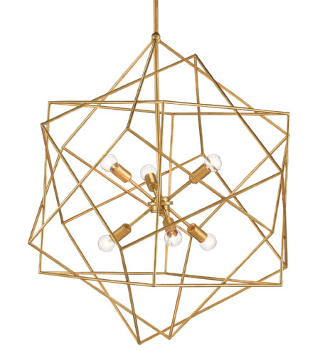 Currey & Company 9000-0069 Aerial Gold Chandelier in Antique Gold Leaf
