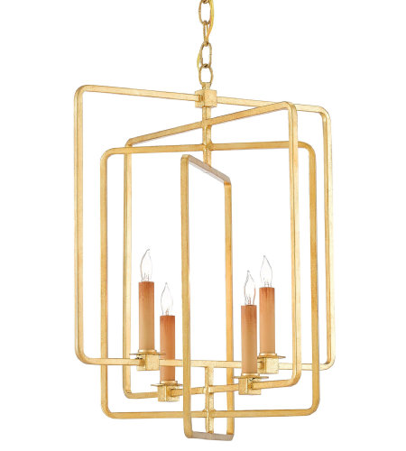 Currey & Company 9000-0071 Metro Gold Square Chandelier in Contemporary Gold Leaf