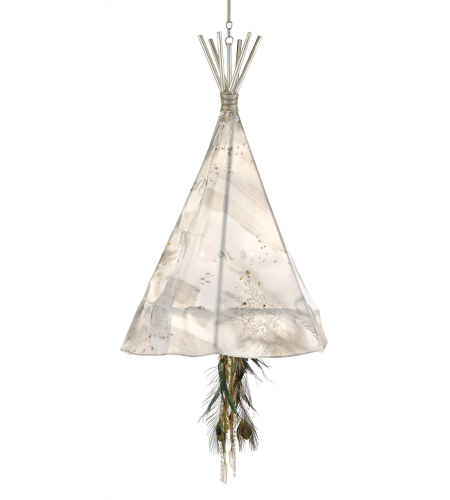 Currey And Company 9000-0137 Stardust Teepee Chandelier, Large In Contemporary Silver Leaf/Thunder
