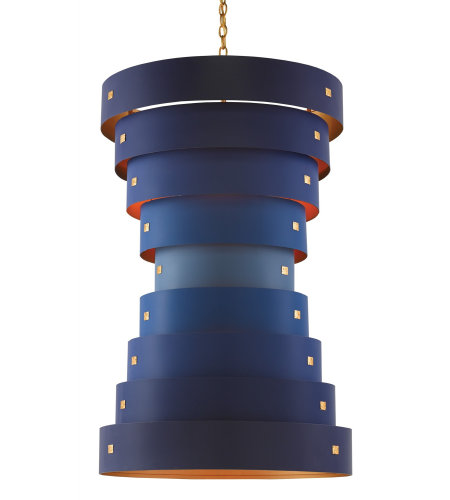 Currey And Company 9000-0155 6 Light Graduation Chandelier In Contemporary Gold Leaf/New Gold Leaf/Blue