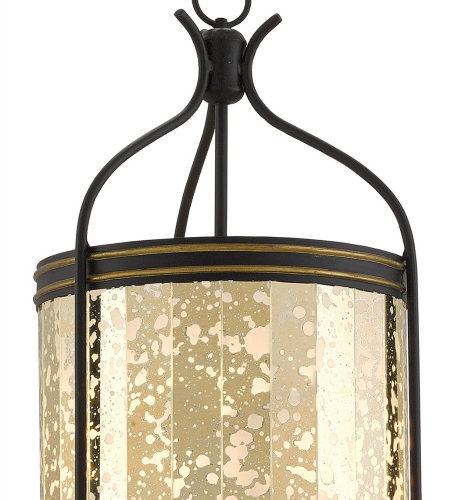 Currey & Company 9000-0158 Zaire Lantern In Satin Black/Brass/Raj Mirror