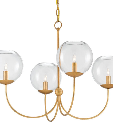 Currey And Company 9000-0163 4 Light Rothwell Chandelier, Gold In Contemporary Gold Leaf