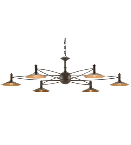 Currey And Company 9000-0199 6 Light Drone Chandelier In Bronze Gold/Contemporary Gold Leaf Accent