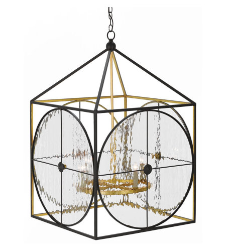 Currey & Company 9000-0205 Sagamore Lantern In Satin Black/Contemporary Gold