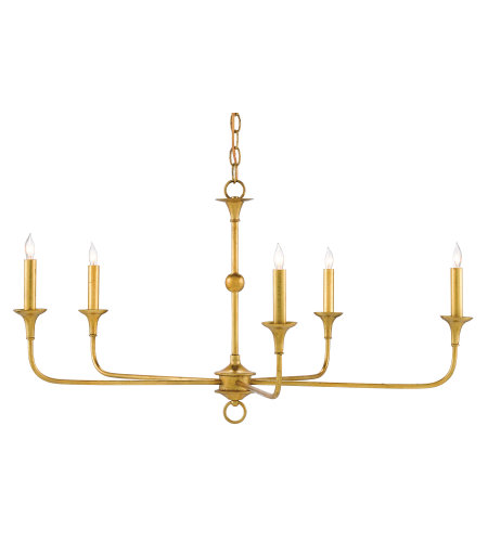 Currey & Company 9000-0369 Nottaway Gold Small Chandelier in Contemporary Gold Leaf