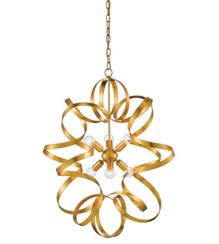 Currey & Company 9000-0371 Lasso Chandelier In Contemporary Gold Leaf