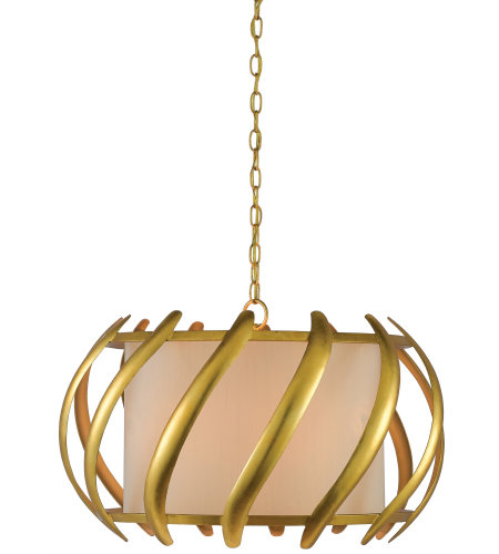 Currey & Company 9000-0380 Trephine Drum Chandelier in Contemporary Gold Leaf/Painted Gold