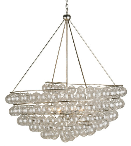 Currey & Company 9002 Stratosphere Chandelier in Contemporary Silver Leaf
