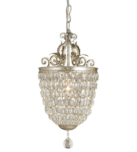 Currey & Company 9004 Bettina Pendant In Silver Leaf