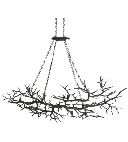 Currey & Company 9007 Rainforest Chandelier in Rustic Bronze
