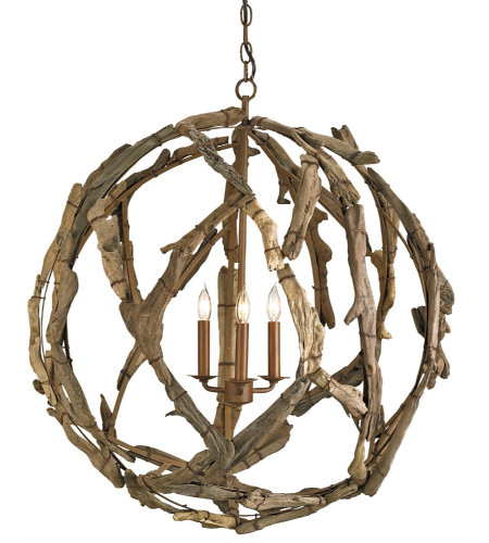Currey & Company 9078 Driftwood Orb Chandelier In Natural
