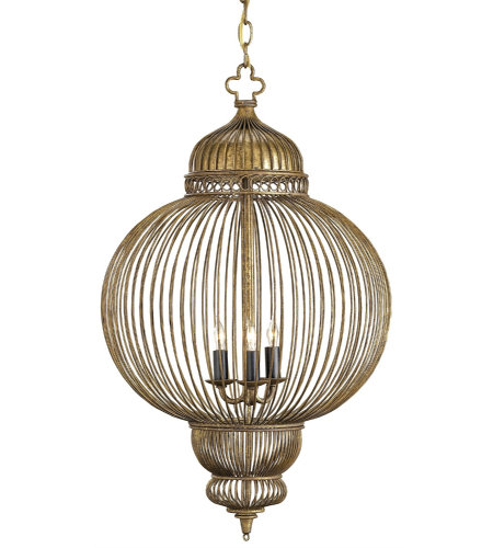 Currey And Company 9137 3 Light Giltspur Chandelier In Rustic Gold/Antique Black