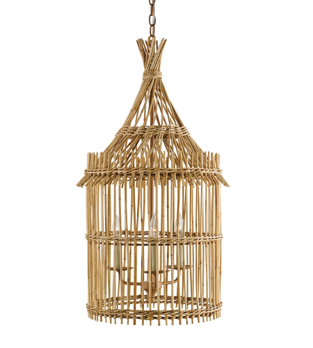 Currey And Company 9262 Tobago Lantern In Khaki/Natural