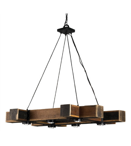 Currey & Company 9429 Dockyard Chandelier In Natural/Blacksmith